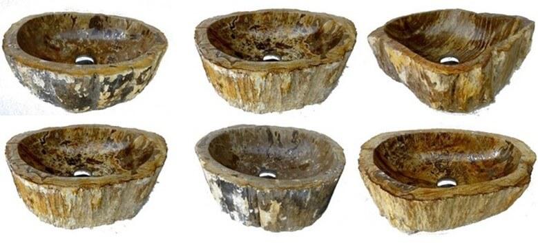 Vasques en bois fossilisé