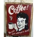 plaque décorative en bois coffee