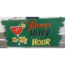 panneau décoratif en bois happy hour