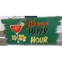plaque décorative en bois happy hour