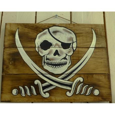 plaque décorative en bois pirate