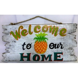 panneau décoratif en bois welcome home