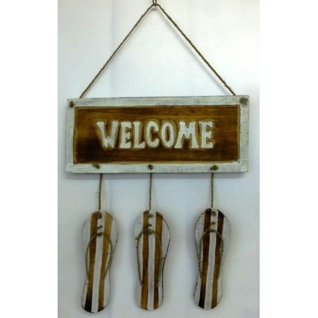 panneau décoratif en bois welcome tong