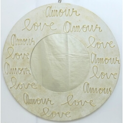 miroir LOVE rond blanc