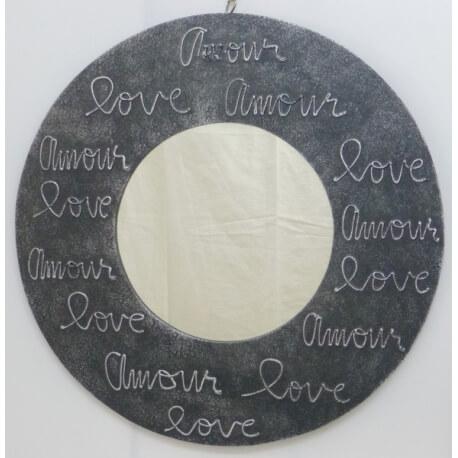 miroir LOVE rond noir