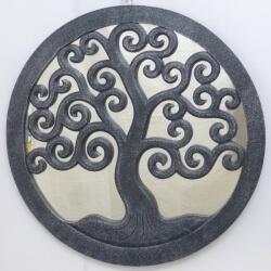 espejo TREE OF LIFE redondo negro