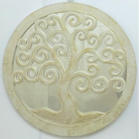 espejo TREE OF LIFE redondo blanco
