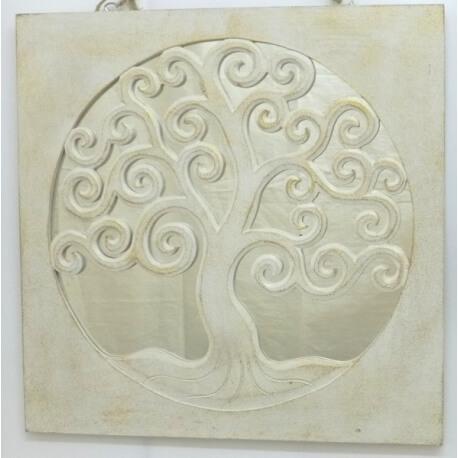 espejo TREE OF LIFE cuadrado blanco