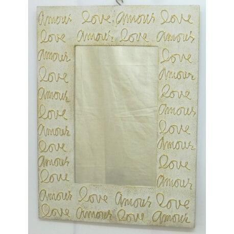 Espejo rectangular LOVE blanco