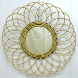 miroir Soleil en rotin rond