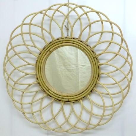 Espejo de sol en ratán redondo