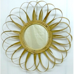 miroir Soleil en rotin plat