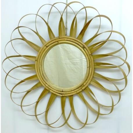 Espejo de sol en ratán plano