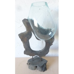 verre soufflé sur pied G08