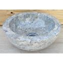 Vasque en marbre polie gris 30x30cm H.12cm