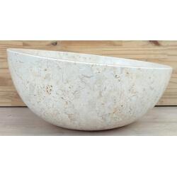 Vasque en marbre polie crème diamètre 40cm H.20/16cm