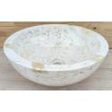 Vasque en marbre polie crème 40x40cm H.15cm mr21