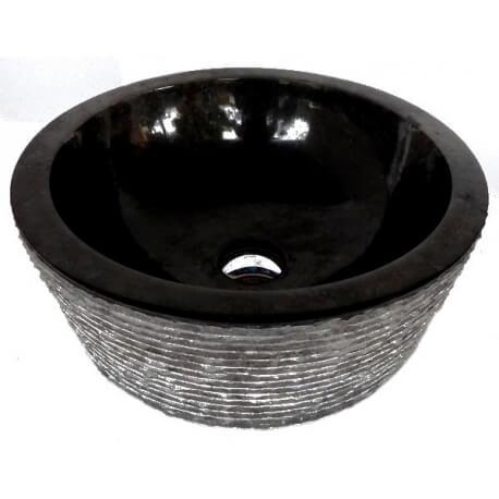 Vasque en marbre noire 40x40cm H.15cm mr20