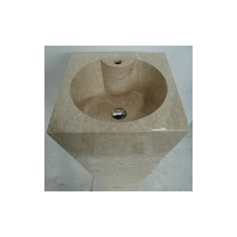 Vasque en marbre sur pied beige n 1 exotica import for Vasques import