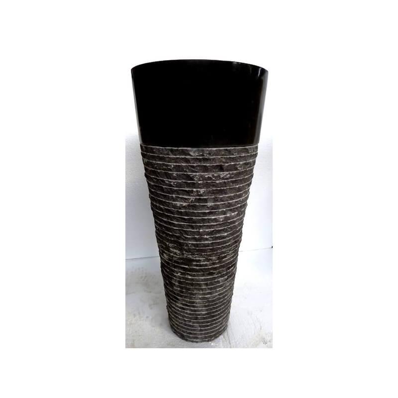 Vasque en marbre sur pied noire n 4 exotica import for Vasques import