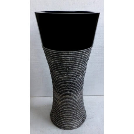Vasque en marbre sur pied noire n 8 exotica import for Vasques import