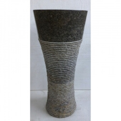 Vasque en marbre gris sur pied n°5