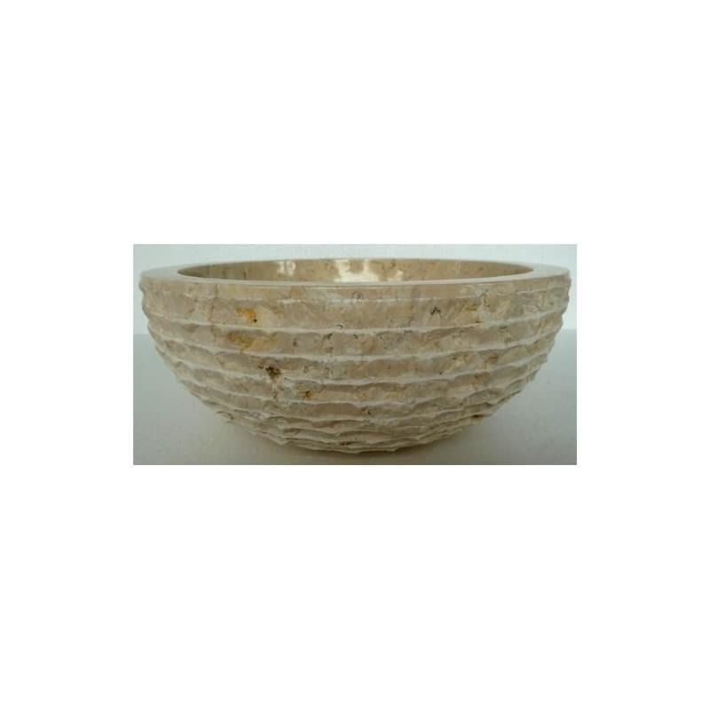Vasque en marbre ronde cr me mr11 exotica import for Vasques import