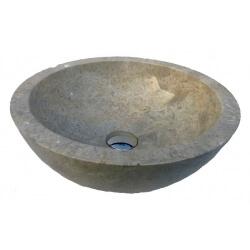 Vasque en marbre polie crème 30x30cm H.12cm mr11p