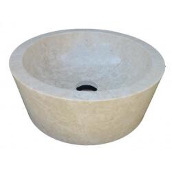 Vasque en marbre polie beige 40x40cm H.15cm mr199