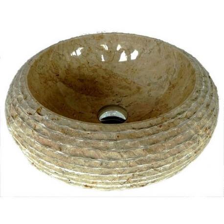 Vasque en marbre crème 40x40cm H.15cm mr17