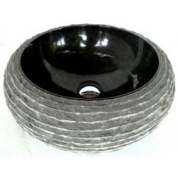 Vasque en marbre noire  40x40cm H.15cm mr18