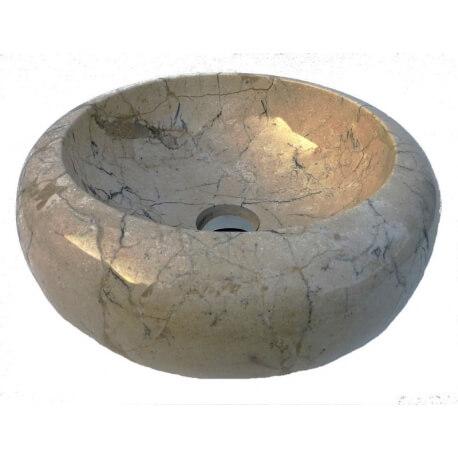 Vasque en marbre polie crème 40x40cm H.15cm mr24