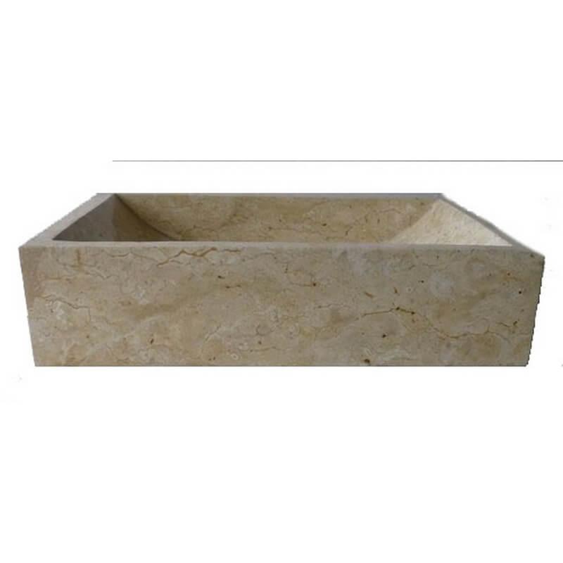 Vasque en marbre polie rectangle cr me 50x35cm exotica for Vasques import