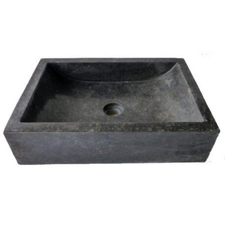 Vasque en marbre polie rectangle noire 50x35cm