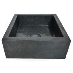 vasque carrée en marbre noir 30x30cm H.12cm