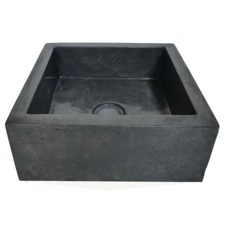 vasque carrée en marbre noir
