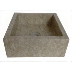 vasque carrée en marbre crème 30x30cm H.12cm
