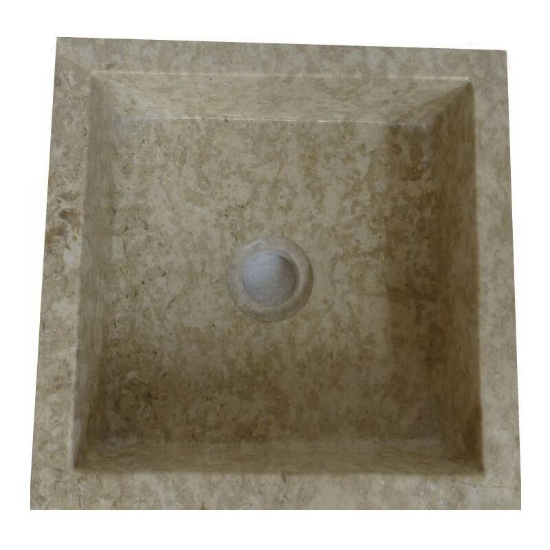 vasque carree ... vasque carrée en marbre crème 30x30cm H.12cm ...
