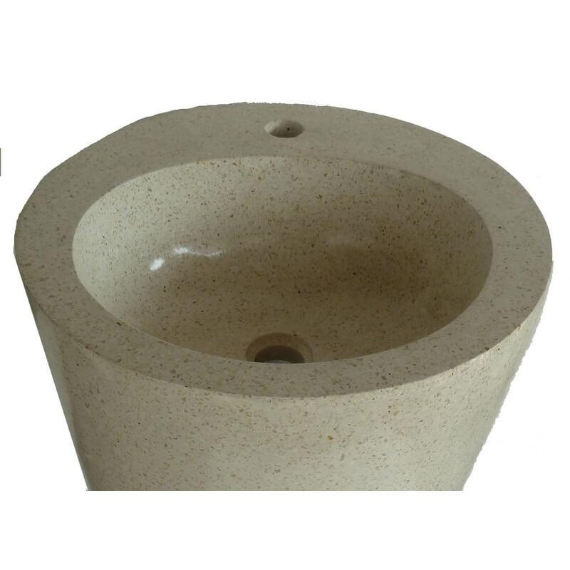 Vasque en terrazzo sur pied cr me exotica import for Vasques import