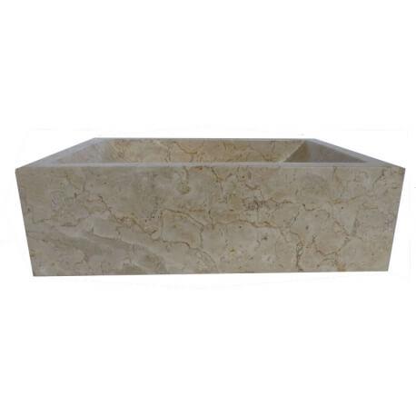 Vasque en marbre rectangle cr me 40x30cm exotica import for Vasques import