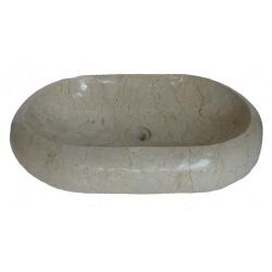 vasque ovale en marbre crème 60x40cm H.12cm