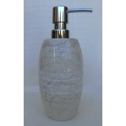 Distributeur savon en marbre crème gravé