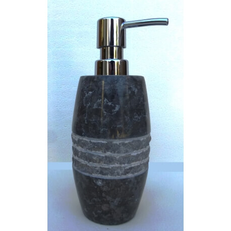 Distributeur savon en marbre noir/gris gravé