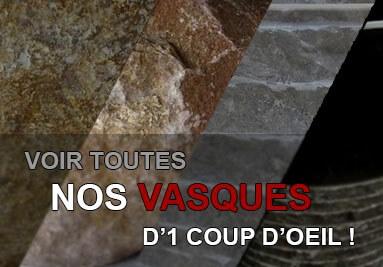 Toutes les vasques en pierre, en marbre, en onyx ou en bois pétrifié d'un coup d'oeil !