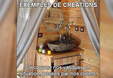 Exemples de réalisation client, pose de vasque en pierre